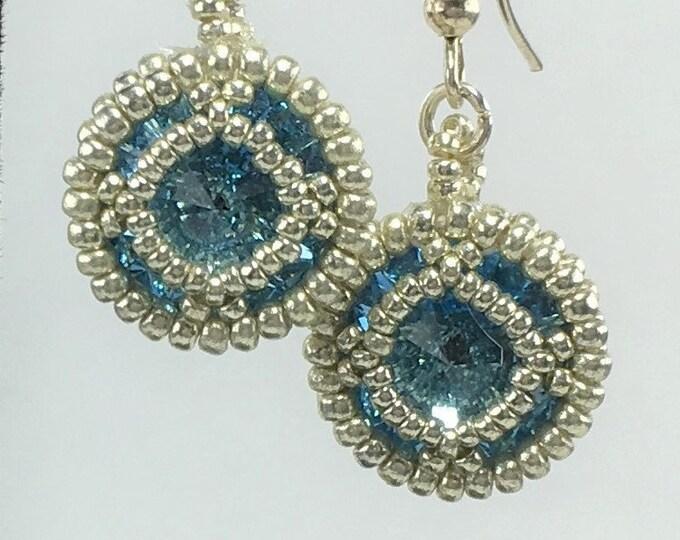 HE318 - Swarovski Aquamarine Crystal and Silver Hand Beaded Earrings