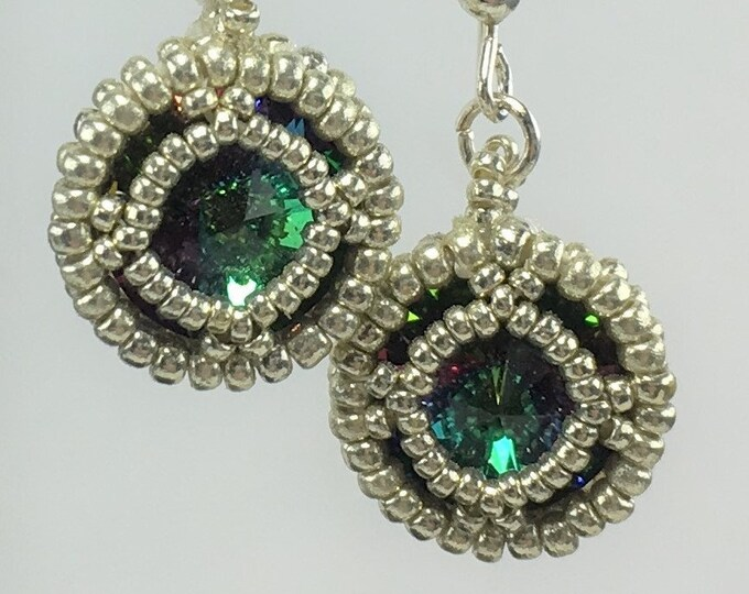 HE494 - Swarovski Electra Crystal and Silver Hand Beaded Earrings