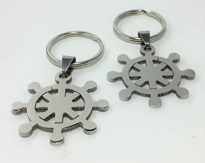 K581 - Ships Wheel Stainless Steel Key Chain