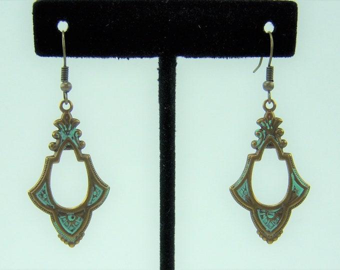 E457 - Fanned Frame Brass Earrings