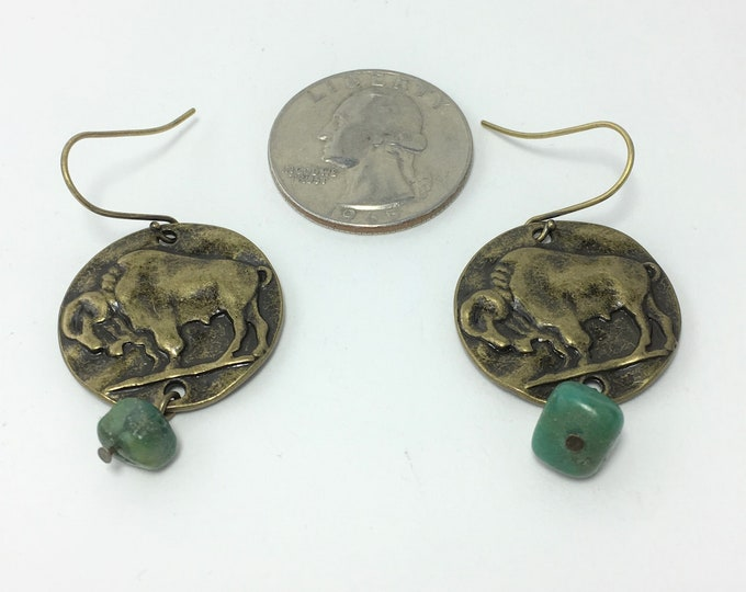 T590 - Turquoise and Buffalo Coin Earrings