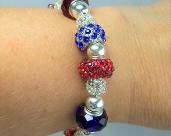PB204 - Patriotic Crystal Bracelet