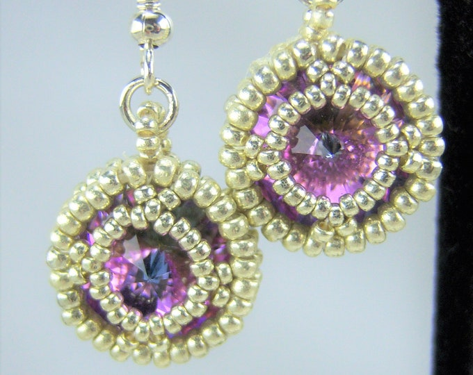 HE109 - Swarovski Vitrail Light Crystal and Silver Hand Beaded Earrings