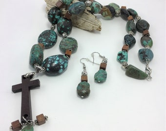 T445 - Turquoise and Wooden Cross Necklace and Earrings Set