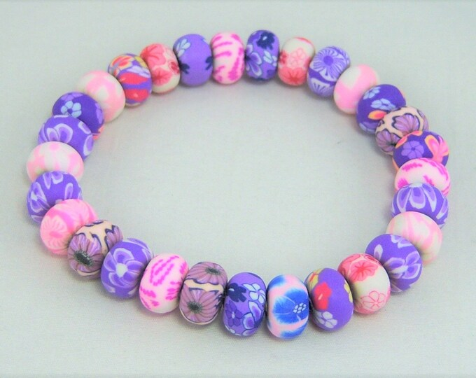 G429 - Polymer Clay Pink and Purple Floral Bead Girls Bracelet