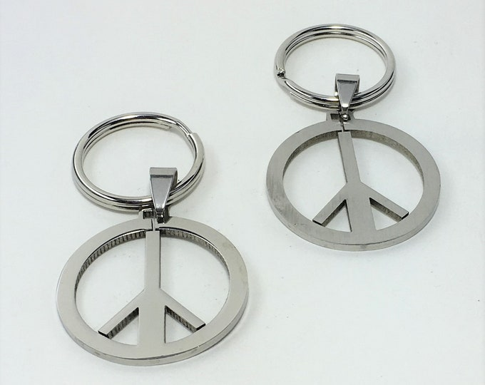 K579 - Peace Sign Stainless Steel Key Chain