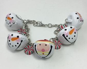 XMAS546 - Santa & Snowman Bell Bracelet