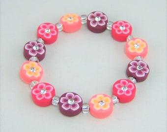 G402 - Mulit Colored Flower Mix Rhinestones & Resin Bead Girls Bracelet