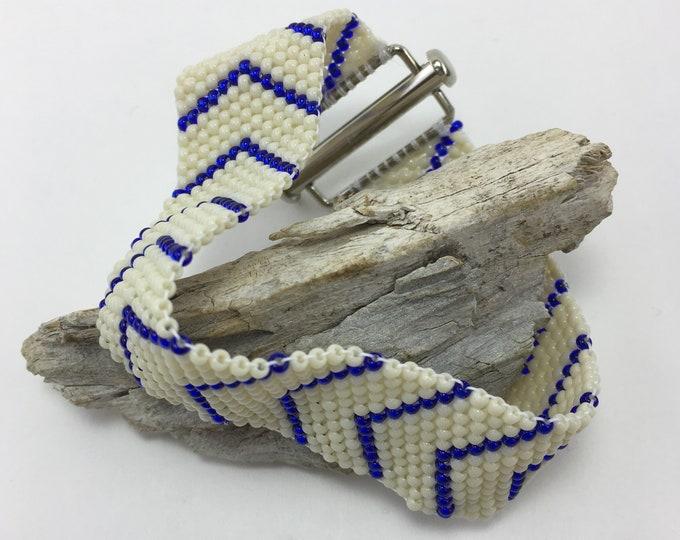 HB298 - Peyote Cobalt Blue and Cream Chevron Bracelet