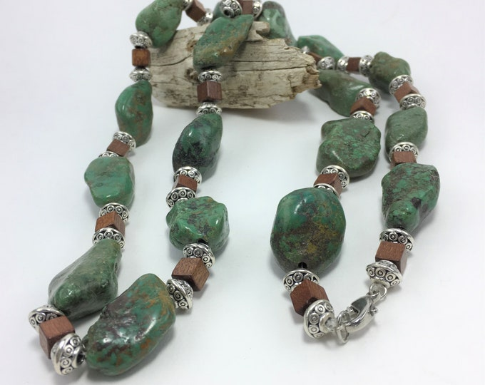 T435 - Turquoise Nugget, Silver and Wood Bead Necklace