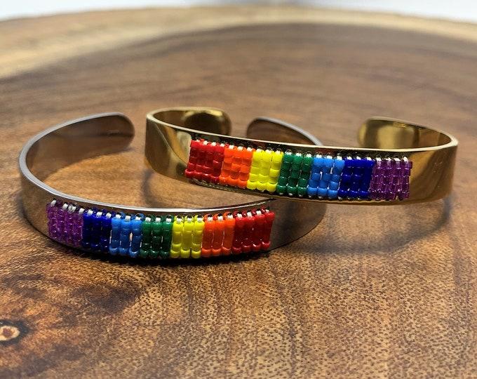 HB599 - Pride Hand Beaded Cuff Bracelet