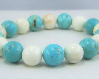 HMJ182 - Turquoise Dyed and White Howlite Bracelet