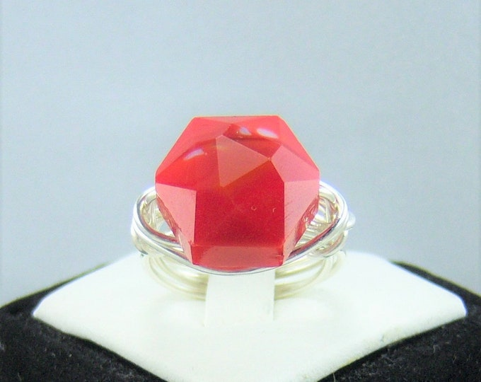 R197 - Red Octagon Faceted Glass Bead Wire Wrapped Ring