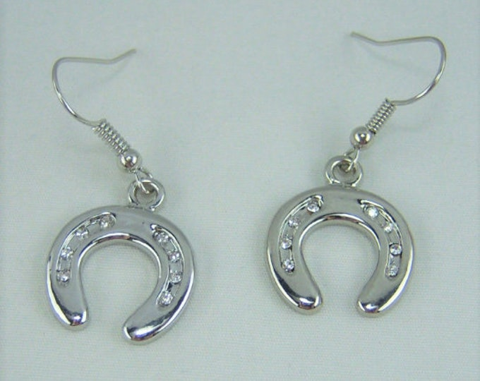 E030 - Horseshoe with Crystals Charm Earrings