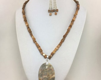 S235 - Jasper and Marble Pendant Necklace and Earrings Set