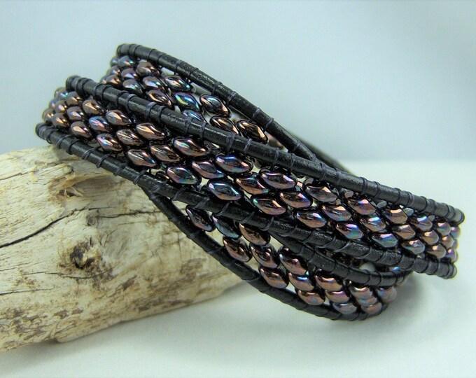 HB128 - Wrap Jet Iris and Leather Bracelet