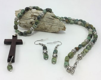 T447 - Turquoise (African) and Wooden Cross Necklace and Earrings Set