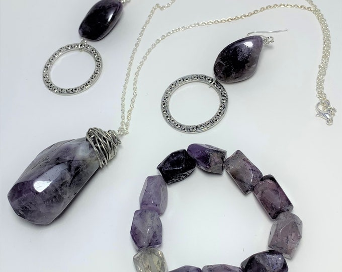 S610 - Amethyst Necklace, Bracelet and Earrings