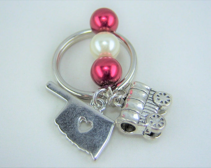 K215 - Crimson and Cream Glass Pearl Beads with Oklahoma and Schooner Charm Key Chain