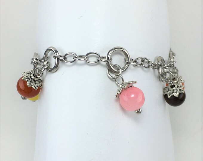A059 - Multi-Colored Gemstone Anklet
