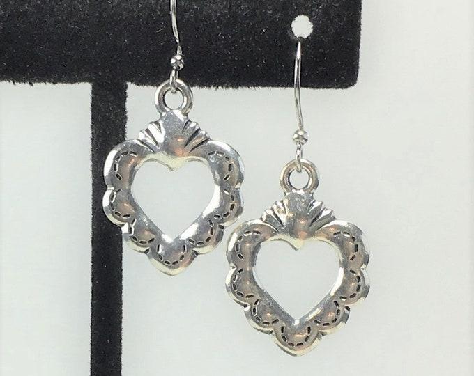E535 - Silver Sacred Heart Earrings