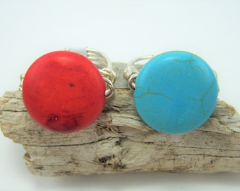 R400 - Turquoise Dyed Howlite Wire Wrapped Ring