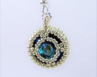 HE493, Swarovski Ultra Cocoa Crystal and Silver Hand Beaded Earrings