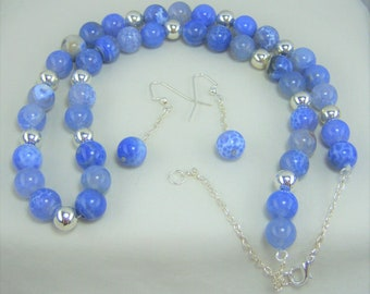 S243 - Blue Agate and Sterling Silver-Plated Bead Necklace and Earrings Set