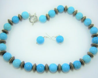 HMJ304 - Turquoise Dyed Howlite and Wood Bead Necklace and Earrings Set
