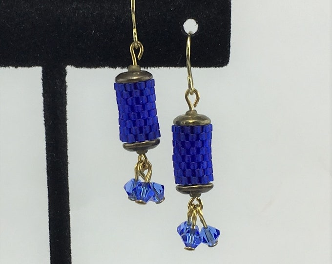 HE490 - Peyote Stitch Blue and Gold Hand Beaded Earrings
