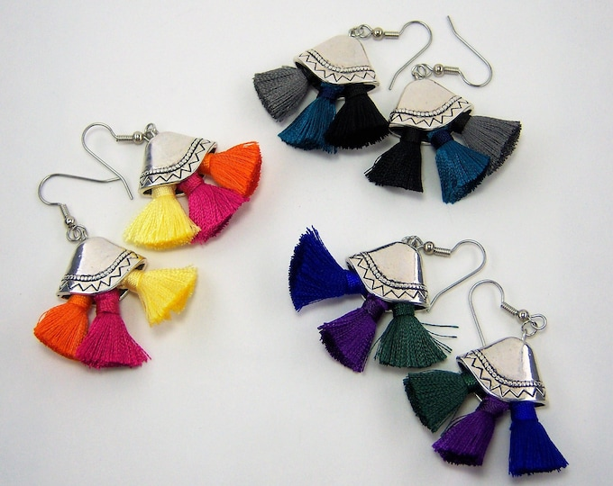 E509 - Multi-colored Tassel Earrings