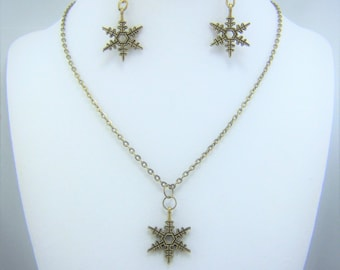 XMAS377 - Snowflake Necklace and Earrings Set