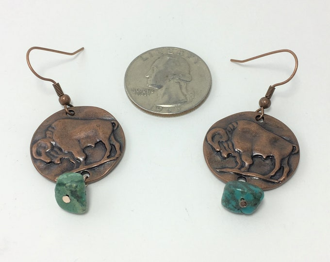 T591 - Turquoise and Buffalo Coin Earrings