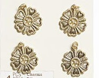 86 -  Flower, Pewter, 22mm, Gold-Finished - Package of 8