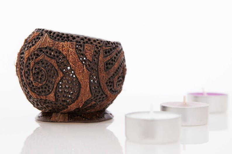Candle bowl, Best gift, Art wood carving, Coconut shell, Unique design,  Home decoration, Home art, Candlestick, Tea candles, One of a kind