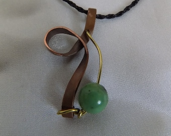 Necklace made of copper, brass, stone