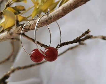 925 silver Creole earrings and semi-precious stone