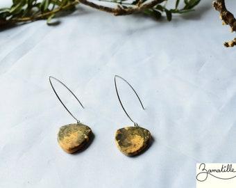 Wood earring, boxwood, hanging earring, women's accessory.