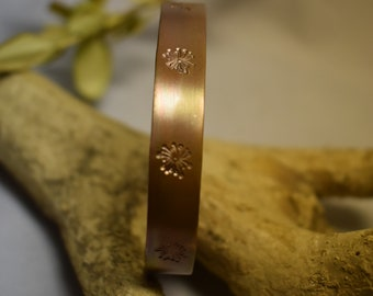 Rush bracelet for men or women, open cuff bracelet in hammered or punched copper