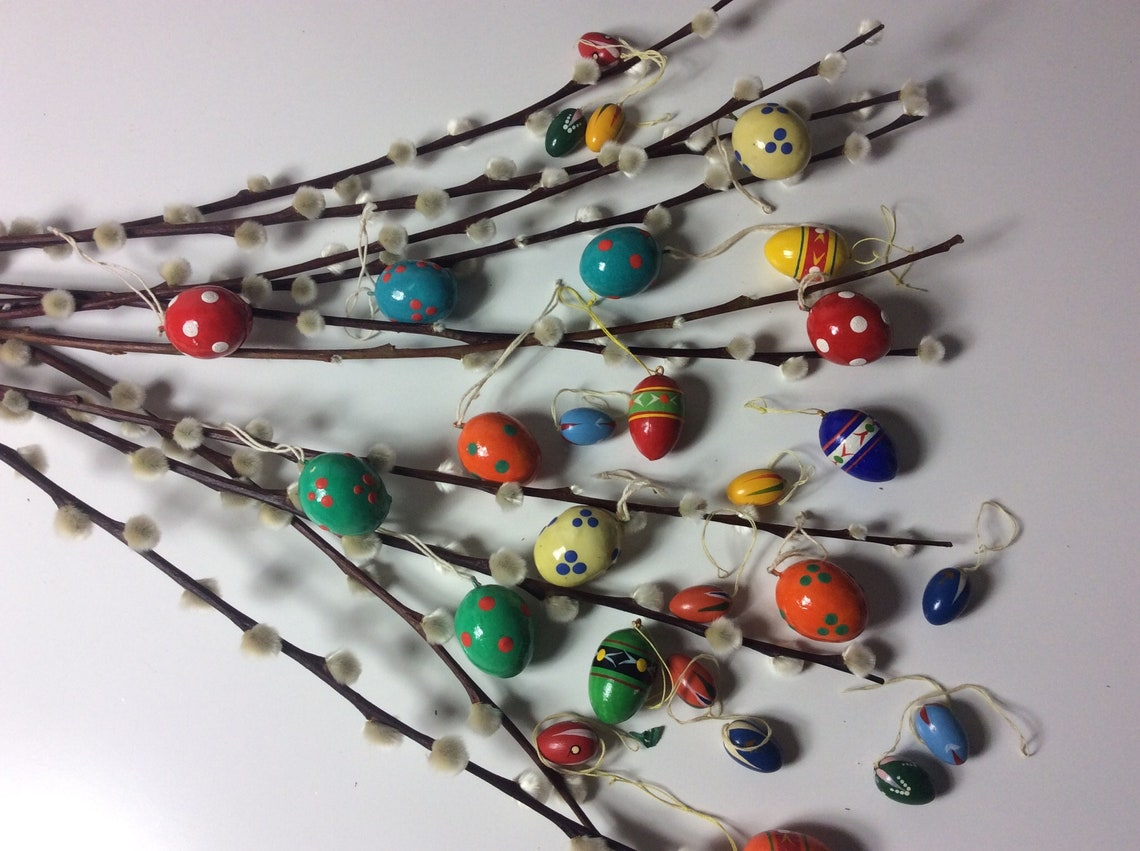 Vintage german traditional easter egg decoration handpainted 26 pcs