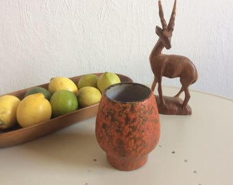 Vintage german ceramic vase 852 by Ruscha vulkano volcano glaze