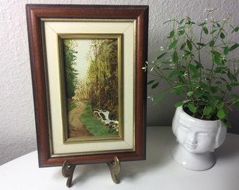 Vintage original oil painting le verrou glaciaire au Valtin landscape signed and framed