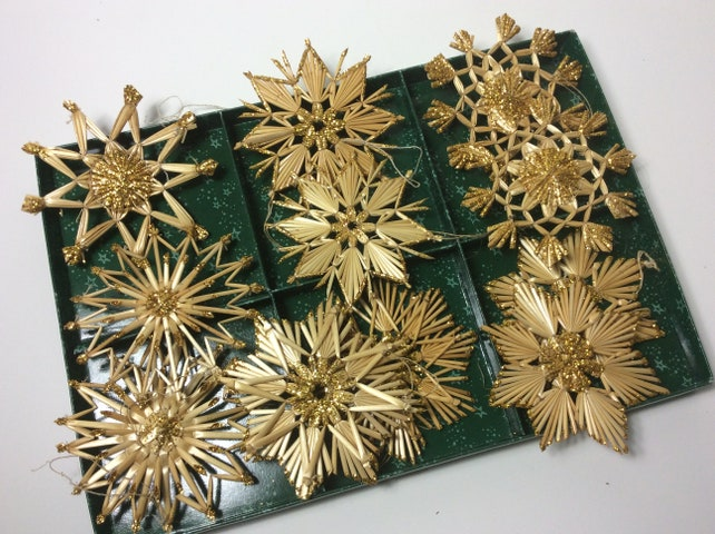 German vintage Christmas ornaments straw stars handmade set of 10 gold glitter