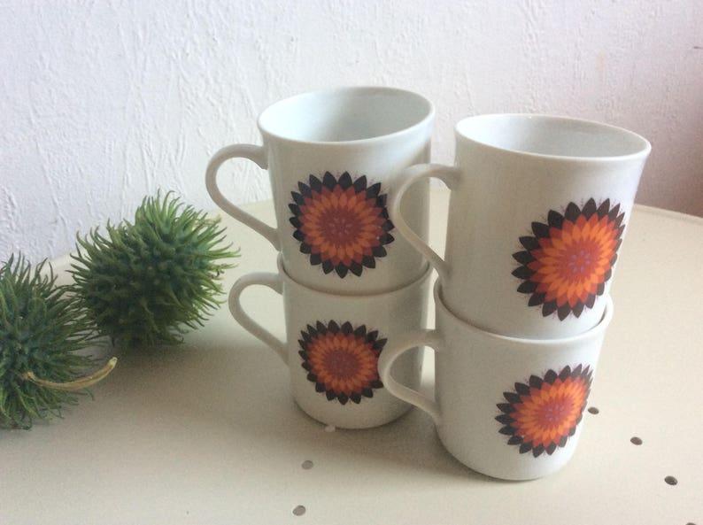 1aa44e742e9 Funky 70er Jahre Tee Tassen Set aus 4 von Eschenbach | Etsy