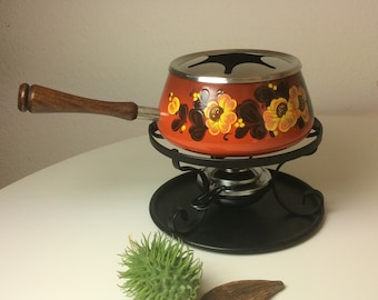 Vintage enamel fondue set 70s vintage orange with flower decor