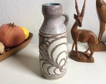 SALE vintage creme abstract pattern German ceramic vase by Strehla handpainted