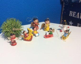 Traditional german christmas ornaments Erzgebirge wooden figurines