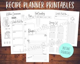 Recipe Printable - Instant Download - Recipe Planner Insert - Recipe Binder Insert - Meal Planning - Grocery List - Conversion Chart   Menu