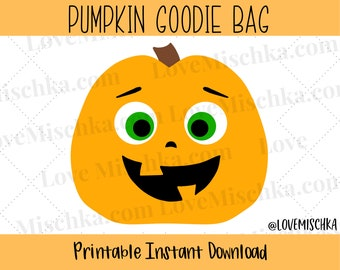 Halloween Party Favor Gift Bags / Goodie Bags for Kids / Birthday / Instant Download / Printables / DIY Bags / Pumpkin / Jack O Lantern