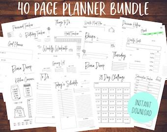 2021 Printable Planner Bundle   Daily Planner   Productivity Planner   Planner Insert   Weekly Planner   Fitness   Recipe   Goals   Organize